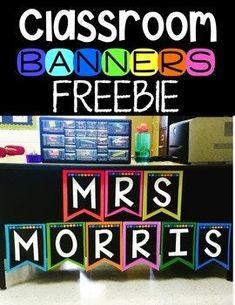 Classroom Banner Freebie by Kayse Morris - Teaching on Less Classroom Banner, Classroom Labels, Classroom Freebies, Preschool Classroom, Future Classroom, Classroom Themes, Teacher Freebies, Classroom Design, Year 3 Classroom Ideas
