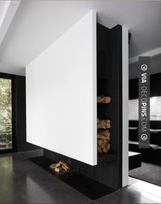Modern black and white home with minimalist design fireplace Home Fireplace, Fireplace Design, Modern Interior, Interior And Exterior, Interior Design, Decoration Inspiration, Interior Inspiration, Home Decoration, Architecture Design