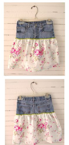 DIY skirt made from jeans idea from Grand Revival Designs. The fabric will be available in stores in late June/early July.
