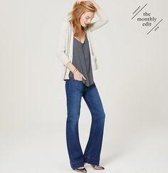 Wide Leg Trouser Jeans in Mid Indigo Wash