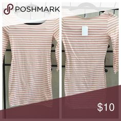 """White/Light Pink Striped Dress. White & light pink striped mini dress with 3/4 sleeves. 27"""" long. NWT. Never been worn. Charlotte Russe Dresses Mini"""