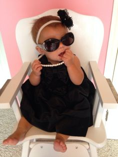Breakfast at tiffanys party. Cutest baby. Little black dress. Glamorous baby. Baby girl. Dress up. Birthday party. Pearls.