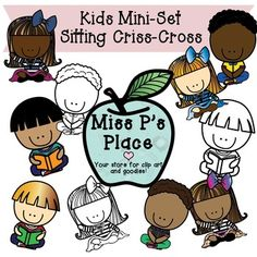 Kids MINI Clipart Set: Sitting Criss Cross [Miss P's Place]  Looking for images of kids sitting criss-cross for cheap? This is a Mini Set that contains 10 total images of kids sitting criss-cross in a few different ways. You will get 3 black and white images to use in all your awesome worksheets and products. You will also get 7 colorful graphics to use on any covers or projects that you wish!