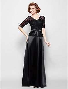 Sheath/Column Plus Sizes / Petite Mother of the Bride Dress - Black Floor-length Half Sleeve Lace / Stretch Satin – USD $ 119.99