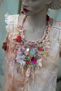 Neobaroque necklace I- shabby chic, experimental,  necklace,  statement necklace, from antique lace, vintage finds, silk, embroidery by FleursBoheme on Etsy https://www.etsy.com/au/listing/579611641/neobaroque-necklace-i-shabby-chic