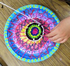Cassie Stephens: In the Art Room: Circle Loom Weaving with Second Grade.. I always have my 2nd grade create a circle loom weaving for a coupla reasons:  * It's excellent for building fine motor skillz and pumpin' up those wee hand muscles. And what kid doesn't want super strong man-hands?  * It's chock full o math connections: measuring, pattern making, long division (okay, maybe not that last one but you get the idea.)