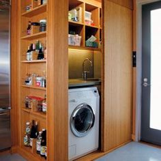 A washer, a laundry sink, and cleaning supplies are concealed inside the closet.