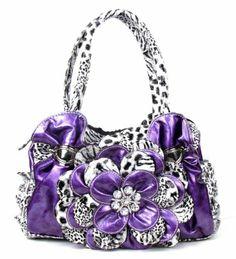 Cool Purple Leopard Flower Rhinestone Fashion Handbag