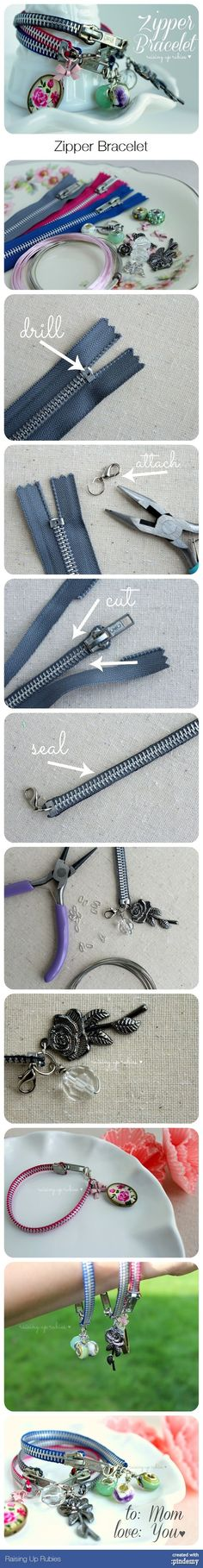 a zipper bracelet tutorial . Zipper Bracelet, Zipper Jewelry, Fabric Jewelry, Beaded Jewelry, Jewelry Bracelets, Bracelet Making, Jewelry Making, Zipper Crafts, Homemade Jewelry