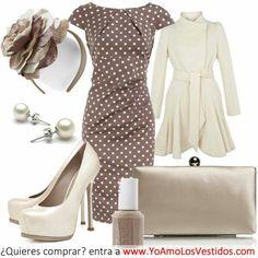 Vestido cafe con puntos blancos