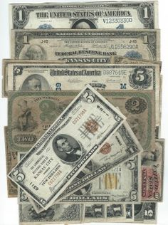 Group Lot: 27 Various US Banknotes 1935A $1 Hawaii AU, 1935A $1 Hawaii VF rust, 1934A $5 North Africa XF+, 1928G $2 AU+, 1953 $2 AU+, 1963A $2 VF, (4) 1935A $1 North Africa Fine, 1928A $1 silver certificate VF, 1929 $5 ch. 6311 Kansas City VF, 1917 $1 legal tender Fine+, 1923 $1 silver certificate F/VF, 1899 $1 silver certificate VF, 1918 $1 FRBN fine, 1914 $5 FRN fine, 1907 $5 legal tender fine, City of Kansas 1870 $2 obsolete, 1902 $5 blue seal ch. 4939 St.