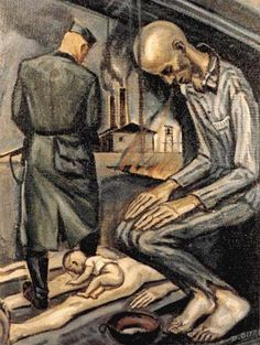 "David Olère (1902 – 1985, Polish-born French) ~ ""Punished in the Bunker"" ~ As a Jew, David Olère was deported to Auschwitz, where he was forced to work in the gas chambers and crematorium. His work, based on personal experience, has exceptional documentary value. Needless to say that, in their tragic cruelty, his drawings and paintings are highly explicit."