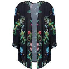 Boohoo Kelly Floral Print Kimono ($30) ❤ liked on Polyvore featuring outerwear, tops, floral print kimono, duster coat, longline kimono, floral kimono and flower print kimono
