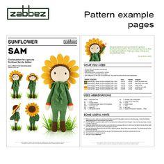 Haakpatroon amigurumi pop Zonnebloem Sam PDF van Zabbez op Etsy