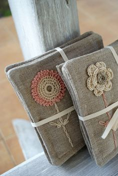 Items similar to Coasters set of 4 /linen/sewing, crochet and embroidery on Etsy Crochet Home, Crochet Crafts, Fabric Crafts, Crochet Projects, Sewing Crafts, Knit Crochet, Sewing Projects, Embroidery Patterns, Hand Embroidery