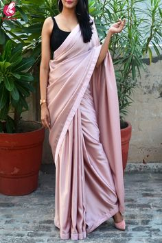 Buy Pinkish Mauve Satin Dupion Silk Taping saree - Sarees Online in India Trendy Sarees, Stylish Sarees, Fancy Sarees, Party Wear Sarees, Indian Fashion Dresses, Dress Indian Style, Indian Wear, Indian Attire, Indian Outfits