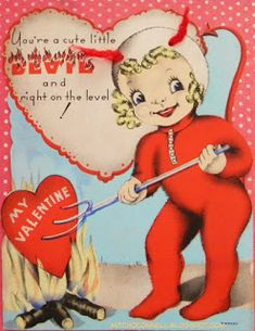 XL Vintage Valentine's Day Card Devil Girl with Yarn Horns Heart Pitchfork Fire Halloween Valentine Images, Vintage Valentine Cards, Vintage Greeting Cards, Valentine Day Cards, Valentine Crafts, Be My Valentine, Valentine Ideas, Vintage Postcards, Valentines Day Funny