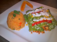 Grilled chicken enchiladas with a spinach cream and queso fresco  #BlueAgave