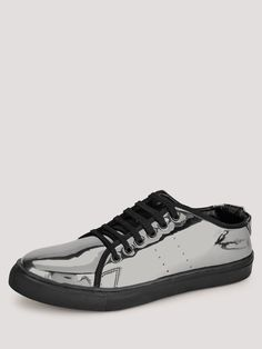 Buy Marcello & Ferri Grey Metallic Metallic Sneakers With Perforations On Side Panels for Men Online in India Online Shopping Shoes, Shoes Online, Justin Bieber Concert, Metallic Sneakers, Plimsolls, Men Online, Casual Shoes, What To Wear, Lace Up