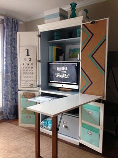 """not compute - an armoire makeover Fold-out ironing board in place of that add-on desk section for a we-have-no-space sewing """"room"""" Fold-out ironing board in place of that add-on desk section for a we-have-no-space sewing """"room"""" Armoire Makeover, Furniture Makeover, Diy Furniture, Modern Furniture, Furniture Design, Craft Room Storage, Room Organization, Craft Desk, Diy Desk"""