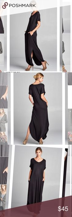 Maxi dress with slits Gorgeous maxi dress with slits!! So so comfy! SHIPS IN 10 DAYS Dresses Maxi