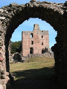 Great Tower from the West Gate of Norham Castle, Berwick upon Tweed, England. Built in 1121 by Bishop Ranulph Flambard of Durham