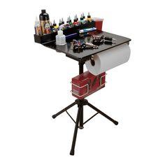Portable Tattoo Workstation Stand Travel Desk Tray Tripod Black