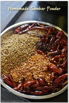 homemade sambar powder recipe a must in indian kitchen.how to make homemade sambar podi recipe.homemade sambar powder easy to make. Veg Recipes, Curry Recipes, Indian Food Recipes, Cooking Recipes, Recipies, Snack Recipes, Sambhar Recipe, Podi Recipe, Masala Powder Recipe
