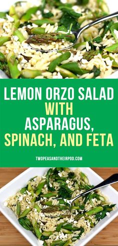 Lemon Orzo Salad with Asparagus, Spinach, and Feta Cheese. This easy vegetarian pasta salad goes great with any meal.