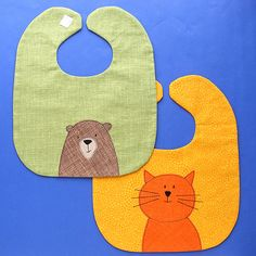 Baby Bib Pattern - adorable and free from Shiny Happy World Free Applique Patterns, Baby Applique, Baby Bibs Patterns, Sewing Patterns Free, Applique Towels, Free Sewing, Softie Pattern, Bib Pattern, Free Pattern