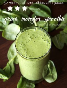 Green monster smoothie! Via the Perfect Pear