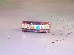 I Love Tumblr Sparkly Pink Purple Hair Clip // Kawaii Hair Accessory with Holographic Hearts // Glittery Tumblr Blog Statement Accessory