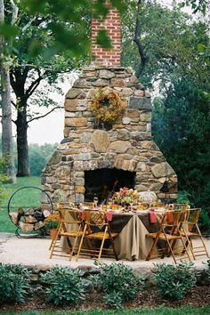 Outdoor rock fireplace