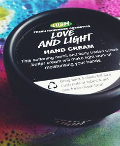 Love and Light hand cream by Lush. This neroli and orange blossom lotion will boost your skin'a softness as well as your mood! Beautiful, just beautiful.