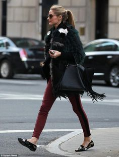 Olivia Palermo cements her fashionista status in a fluffy sage green coat and skinny jeans as she runs errands in the Big Apple | Daily Mail Online