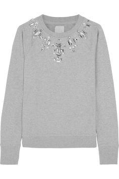 Swetc|Sydney embellished stretch-cotton jersey sweatshirt|NET-A-PORTER.COM