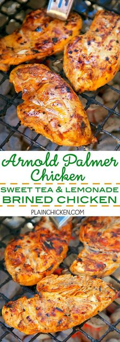 Arnold Palmer Chicken Sweet Tea and Lemonade Brined Chicken - let the chicken sit in the brine overnight and then grill. Tons of great flavor! This gets requested weekly at our house. It is definitely a new favorite! Turkey Recipes, Meat Recipes, Cooking Recipes, Healthy Recipes, Traeger Recipes, Grilling Recipes, Grilled Chicken Recipes, Grilled Meat, Food Dishes