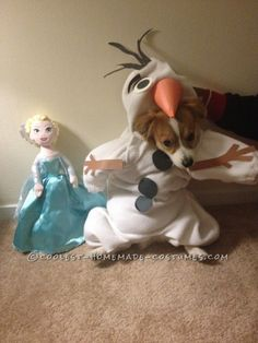 Funny Dog Costume: Mochi  as Olaf from Frozen... Coolest Halloween Costume Contest