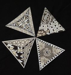 4 Different Variations. All in Black, Brown and White pens Used White Pen, Pen Art, Zentangle, Mumbai, Pens, Tiles, Triangle, Meditation, Brown