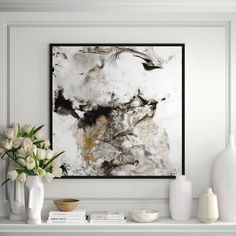 JBass Grand Gallery Collection 'Marble Onyx II' Framed Print on Canvas