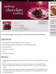 Chocolate pudding Chocolate Pudding, Melting Chocolate, Slimming World, Food Print, Cake Recipes, Vegetarian, Cooking, Melt Chocolate, Kitchen