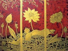 The 'Lotus Golden Flowers' Thai painting. Saree Painting, Lotus Painting, Fabric Painting, Southeast Asian Arts, Thailand Art, Lotus Art, Clay Wall Art, Tanjore Painting, Thai Art