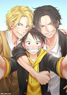 The three brothers Luffy, Ace, Sabo One Piece Manga, Ace One Piece, One Piece Comic, One Piece World, One Piece Fanart, One Piece Luffy, One Piece Pictures, One Piece Images, Anime One