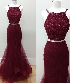 Hot-Selling Two-Piece Mermaid Halter Burgundy Long Prom Dress with Beading