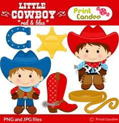 printcandee.com - Little Cowboy Clipart - clip art good for boy birthday party - wild west by Print Candee