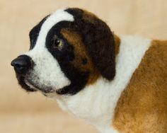 Wilbur the Saint Bernard: Needle felted animal sculpture by Megan Nedds of The Woolen Wagon
