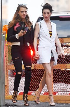 I wanna hold your hand: Cara Delevingne and girlfriend St. Vincent walked to Nobu in New York for dinner on Monday