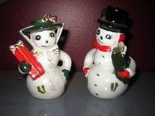 Vintage Christmas Mr. & Mrs. Snowman Salt & Pepper Shakers JAPAN