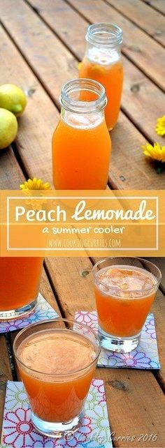 Peach Lemonade - No one can have enough ways to cool down in the heat of summer. This summer cooler of Peach Lemonade is a must have in your summer recipe list – whether it is for everyday or picnics or backyard parties! Refreshing Drinks, Summer Drinks, Fun Drinks, Healthy Drinks, Beverages, Cold Drinks, Non Alcoholic Drinks, Cocktail Drinks, Cocktail Recipes
