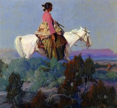 lyghtmylife: Ira Diamond Gerald Cassidy (American painter, Shepherdess of the Hills, nd oil on canvas Private collection Native American Paintings, Native American Art, Southwestern Art, Cowboy Art, Le Far West, Traditional Paintings, Native Art, Horse Art, Plein Air